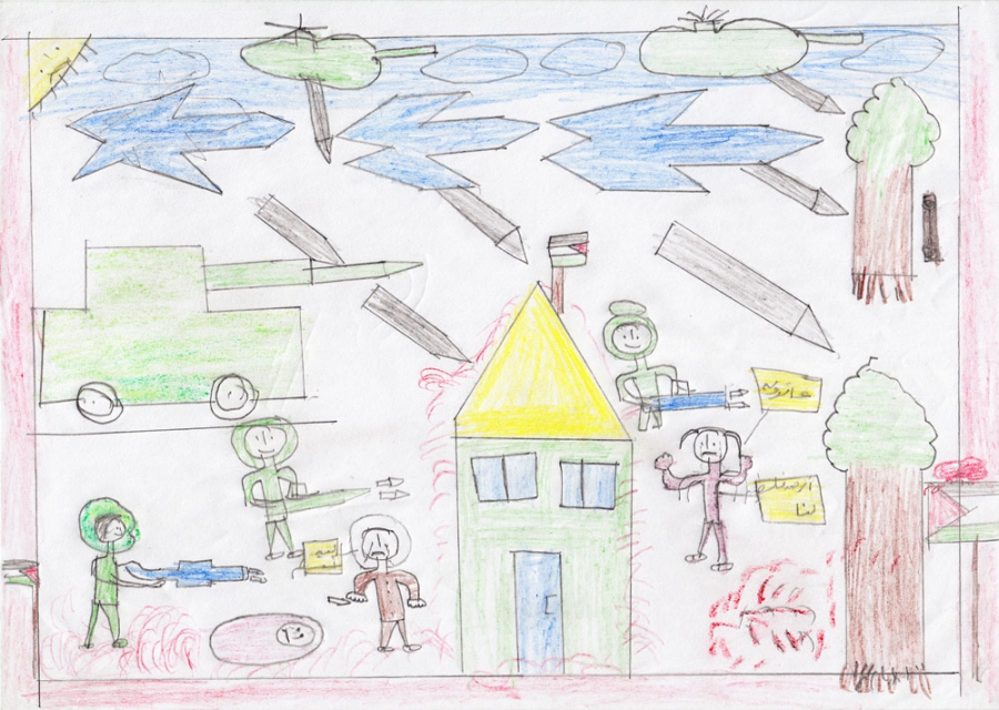 McCarty's photo was based on this drawing by a girl living in Gaza.