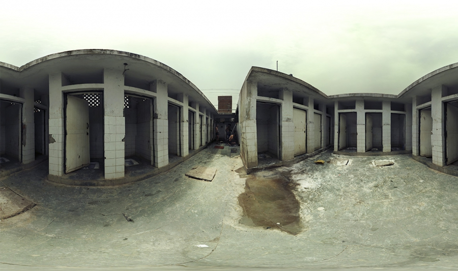 Panorama slum bathroom