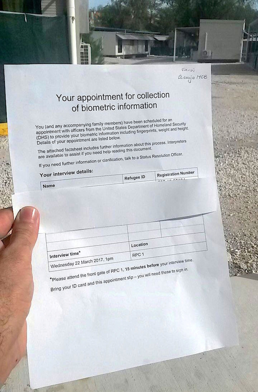 An imaged given to Reuters by a third party shows a form displayed by an asylum-seeker, showing an upcoming appointment in the US resettlement assessment agreed to by the Obama Administration. This photo was taken at Australia's other offshore immigration