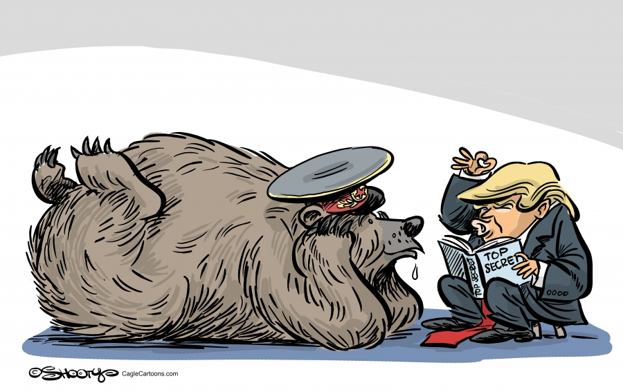 A Russian bear lying down, elbows on the floor and hands on his chin listening raptly to Trump as relays sensitive intelligence information.