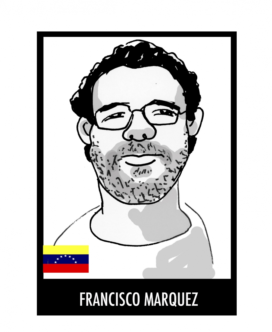 A drawing of Francisco Marquez by cartoonist Rayma Suprani (done before Marquez' release) as part of an effort to draw attention to the plight of political prisoners in Venezuela.