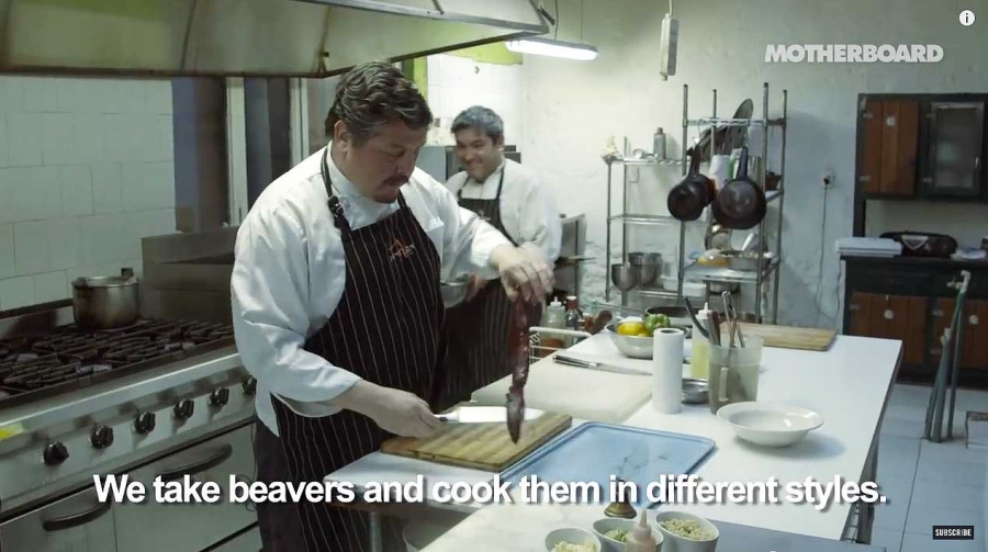 Chef Luis Gonzalez, owner of Remezon Restaurant in the town Punta Arenas in Chile, prepares a dish made from beaver meat.