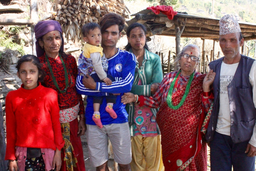 Bishnu Pande with her in-laws