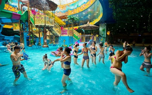 People having a soaking good time at the Vinpearl Water Park in the Royal City district of Hanoi.