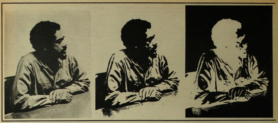 A stylized portrait of Bobby Seale