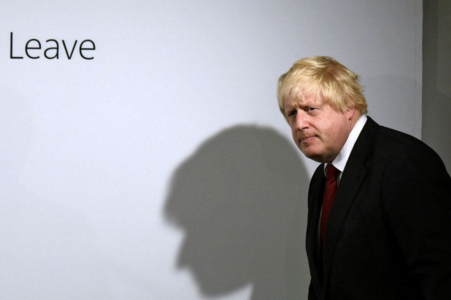 """""""Vote leave"""" campaign leader Boris Johnson at the group's headquarters in London following the results of the Brexit vote. Johnson, thought to be a leading candidate to replace David Cameron, announced he will not run."""