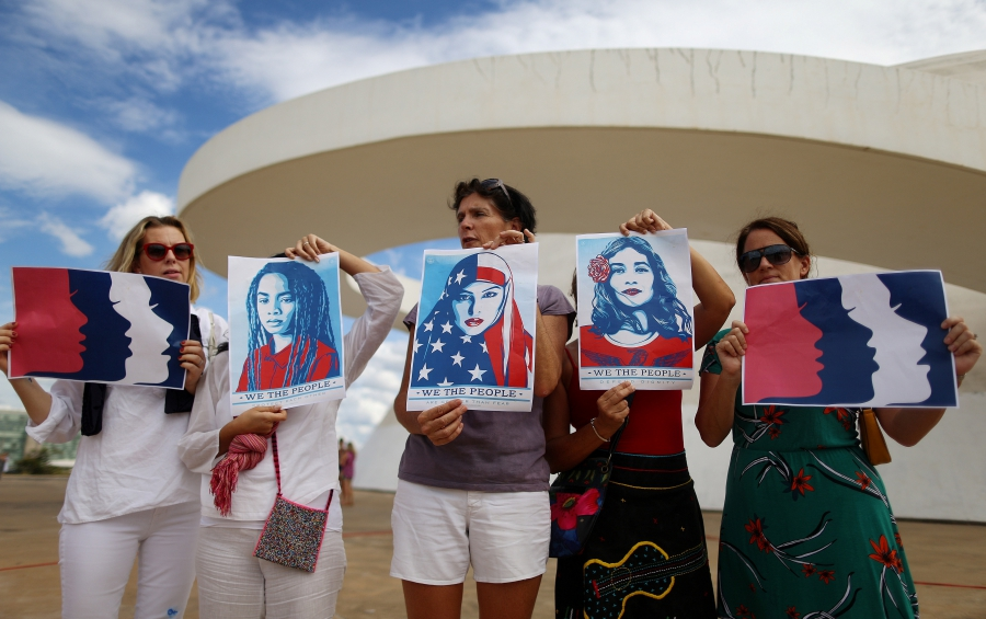Women in Brasilia, Brazil, join the Women's March in solidarity with the March on Washington, January 21, 2017.