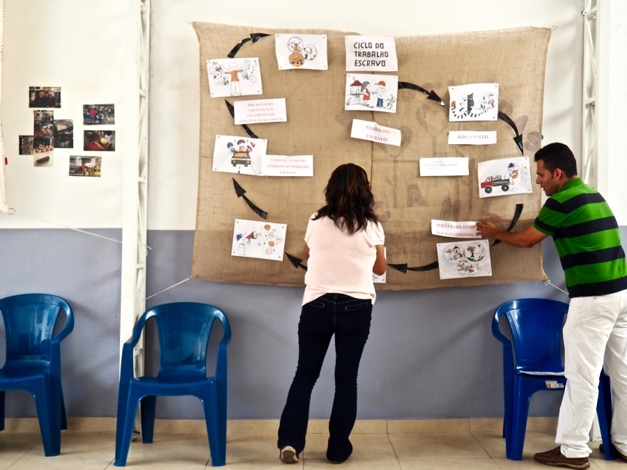 """Carmen Lopes helps assemble a timeline of """"the cycle of forced labor"""" at a community organizing session for migrants at CAMI in São Paulo."""