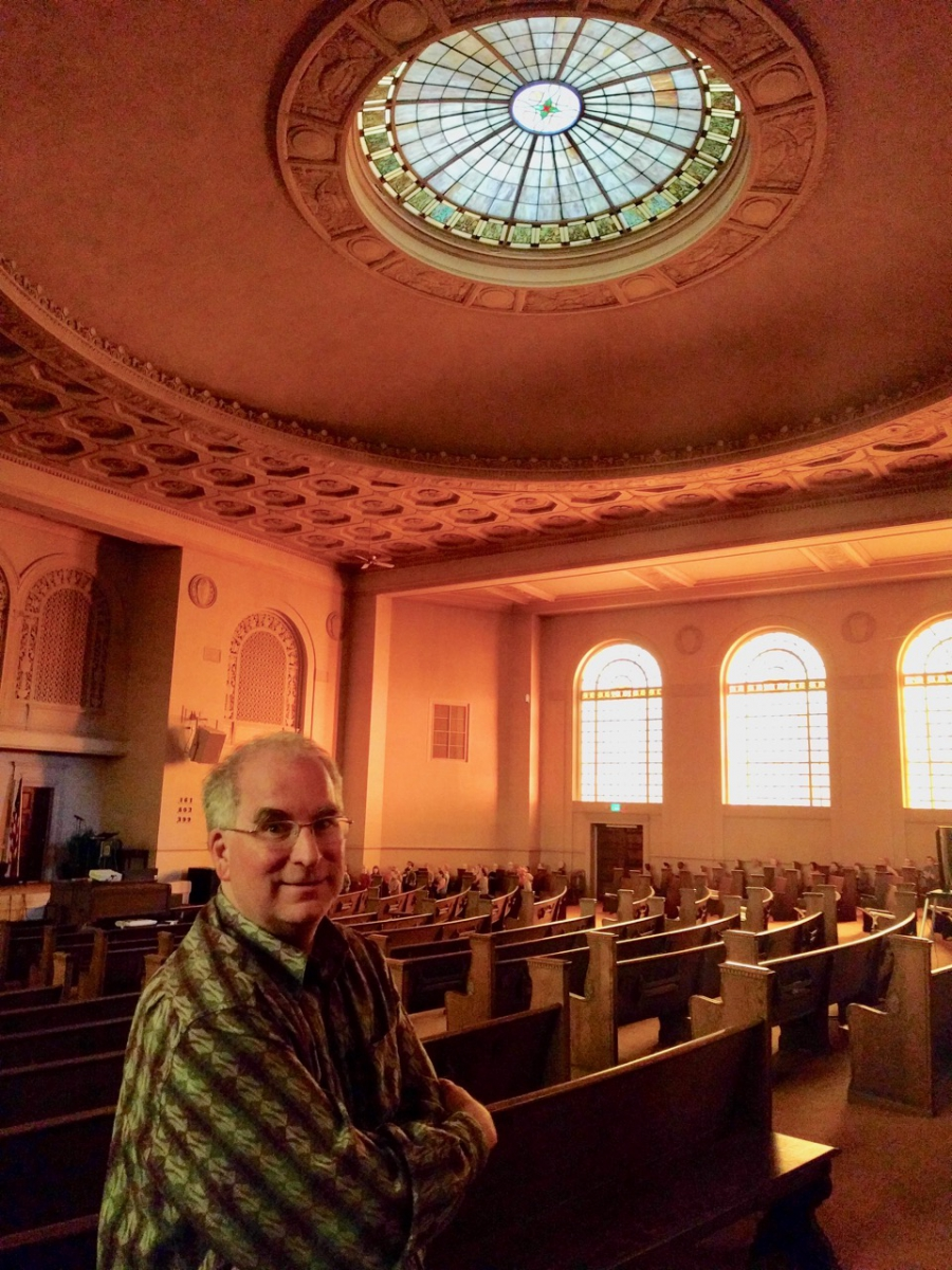 Brewster Kahle, Internet Archive founder, in the former church that now serves as its headquarters