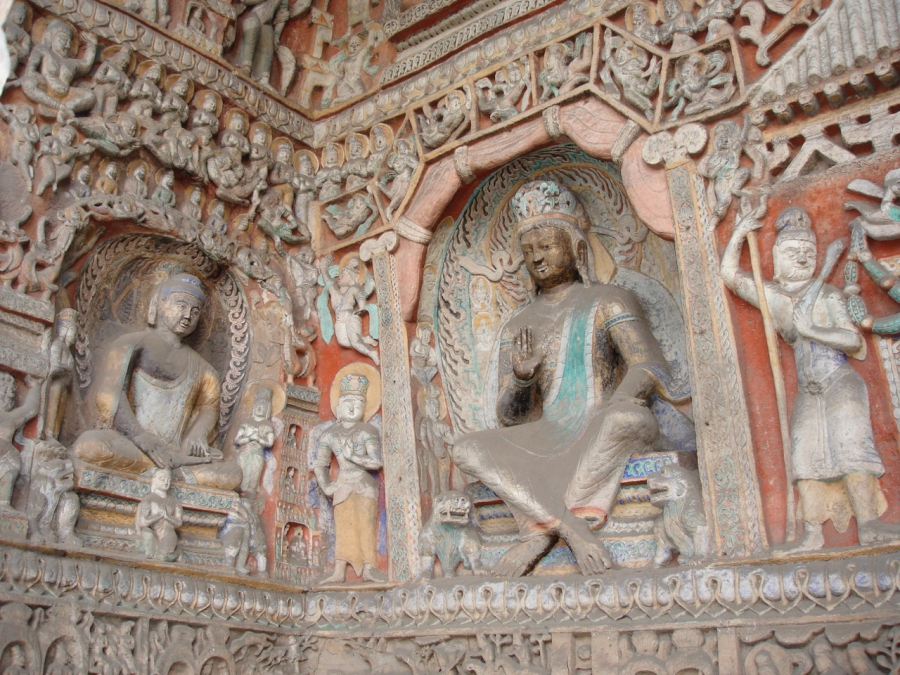 Buddhist carving, Datong caves, in Shanxi province, China