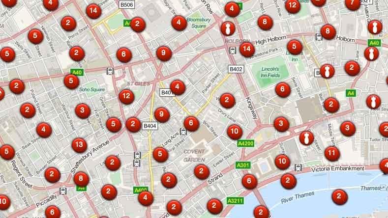 Locations where German bombs fell during the Blitz near Bush House.