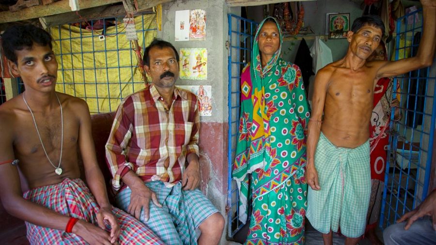"""High tides and erosion washed away forty seven year old Uttam Doloi's land for good, forcing him to migrate to Sagar Island. """"If you go there today,"""" he says, """"there's nothing, just the river."""""""