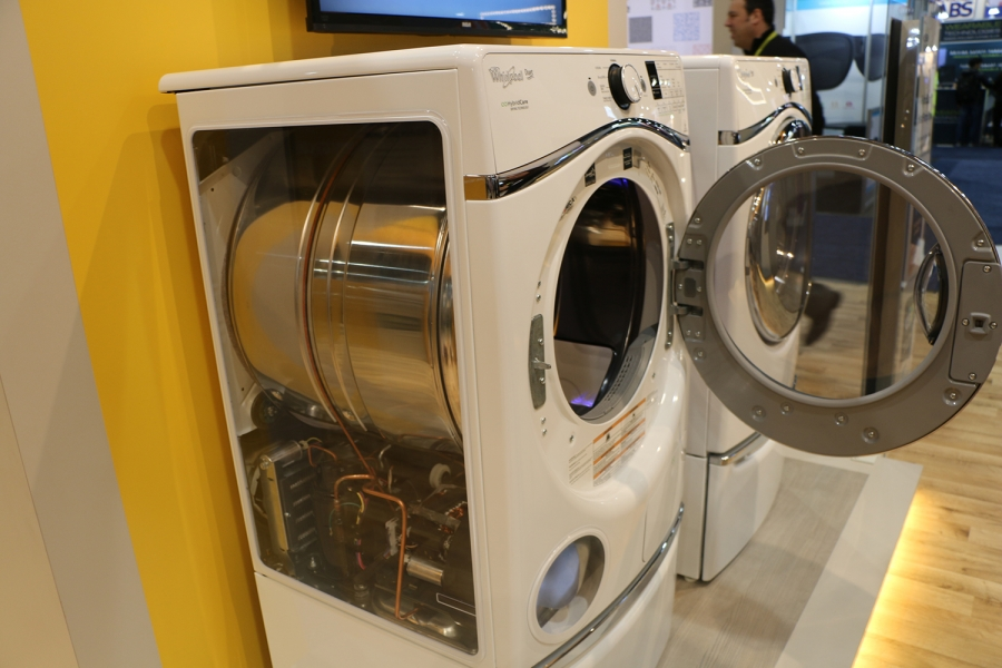Whirlpool's new clothes dryer recycles its hot air instead of venting it, which the company says cuts its energy use by nearly 75%.