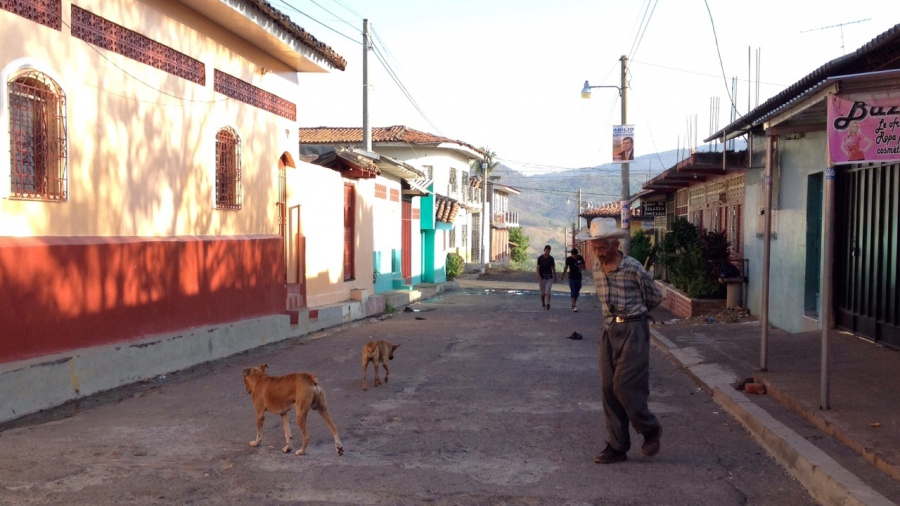 Intipucá's town center. Remittance money has flowed in, but the population has flowed out.
