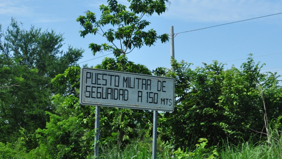 A sign for a military checkpoint along the highway in Mexico's southern state of Chiapas. This one sits more than a 100 miles north of the border with Guatemala.