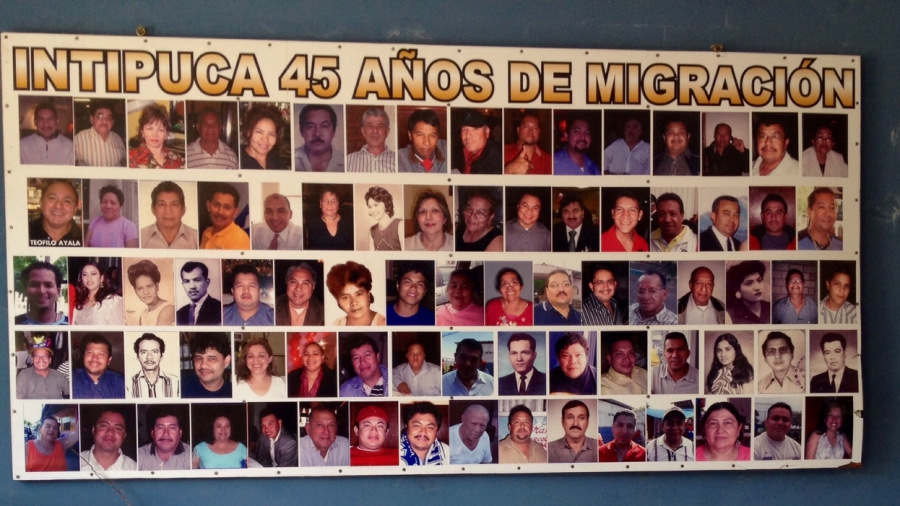 A poster in Intipucá's cultural center celebrates the 45th anniversary since the first migrant left town for the US