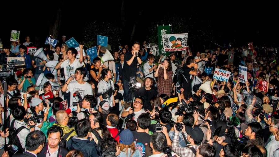 Aki Okuda, leading a chant at a SEALDs protest. It's become one of the biggest activist movements in Japan ever.