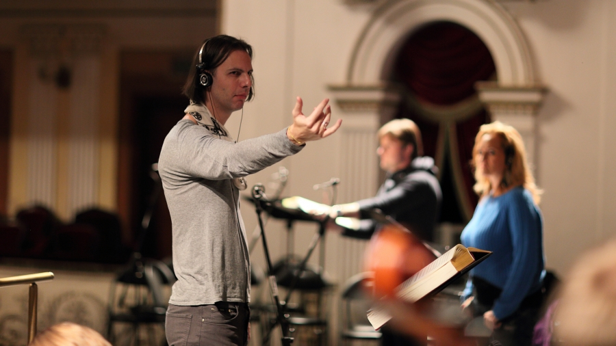 Teodor Currentzis during one of his marathon recording sessions in Perm