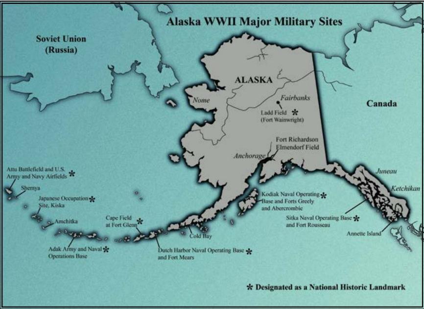 This map of Alaska was adapted from Debra Duba, Alaska at War 1941-1945