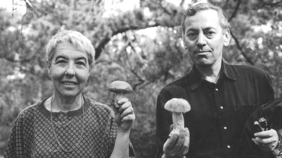 My parents, Inna Simone and Alexander Vilenkin, mushroom picking on Cape Cod.