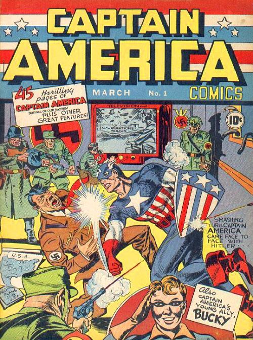 Captain American comic book cover punching Hitler