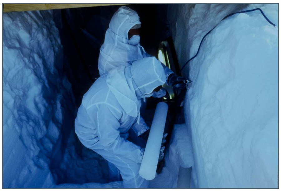 Much cold regions climate research involves gathering ice cores--samples of glacial ice going back thousands of years that can contain detailed records of past climates and other atmospheric conditions. These researchers on Antarctica's Beardmore Glacier