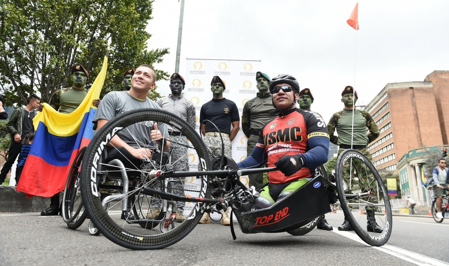 swimmer Camilo Castellanos, left, and handbiker Sergeant Francisco Pedraza, right.
