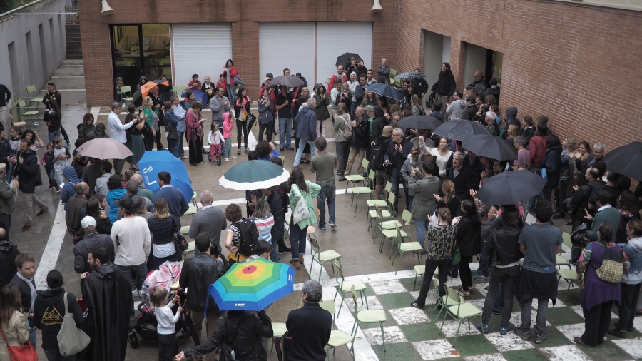 Voters attend a school polling station in northern Barcelona to participate in an outlawed independence referendum.