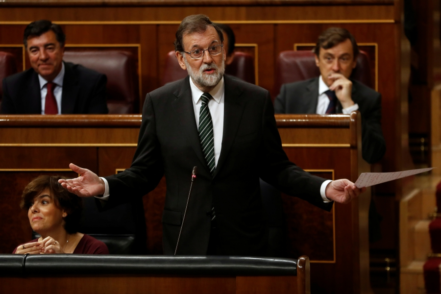 Spanish Prime Minister Mariano Rajoy at the Parliament in Madrid, October 18, 2017.