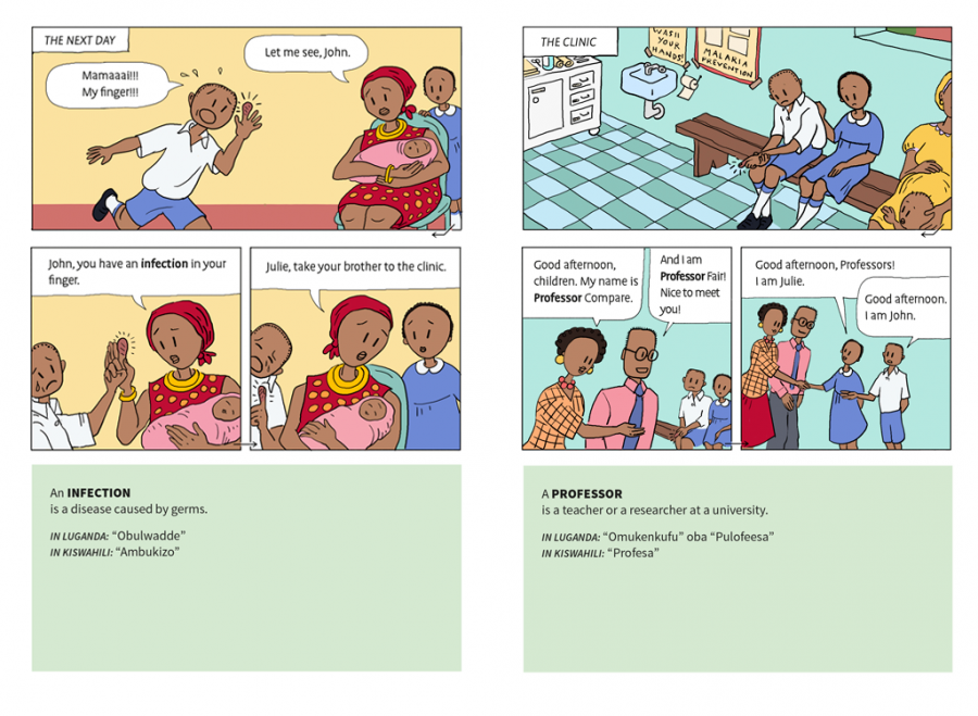 second panel of lesson in comic textbook about identifying health claims.