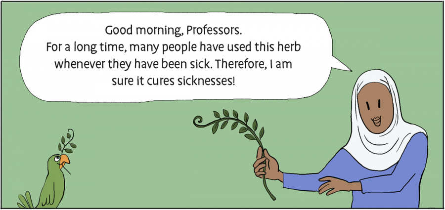 frame from comic book talking about an herb that people heard that's a cure. It's not.