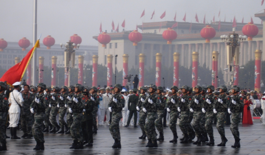 Chinese soldiers parade in Tiananmen Square, Beijing