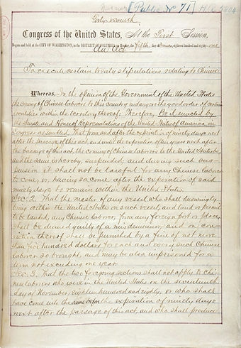 Chinese Exclusion Act, first page