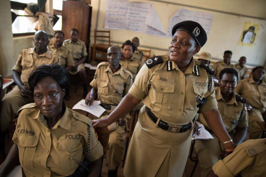 Police Supervisor Christine Alalo begins a 10-day class for Ugandan police officers on how to deal with domestic violence.