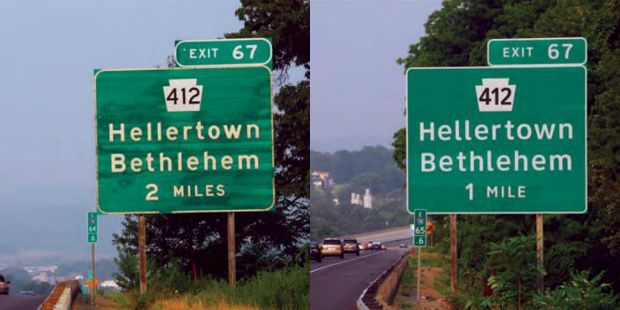 Highway Gothic, on the left; and Clearview, on the right, in the field. (Don Meeker)