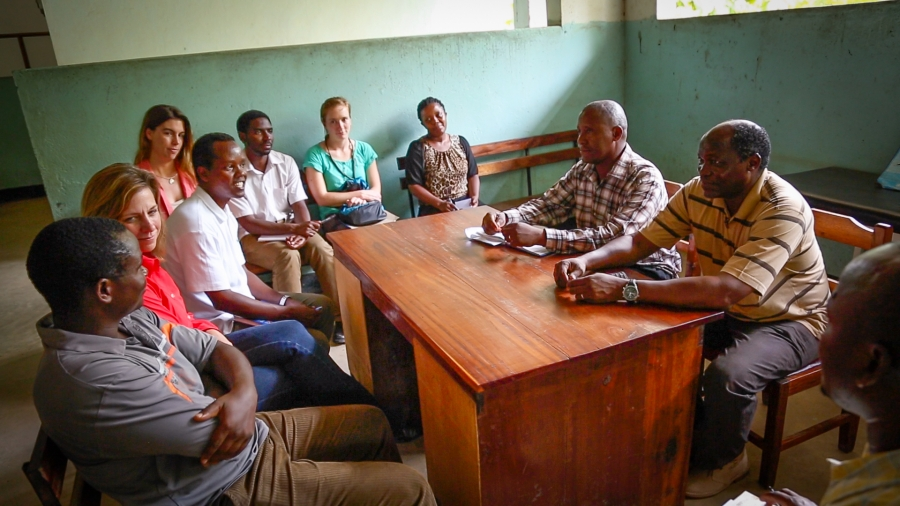 The Predict team meets with the head of a rural health clinic in the Kilombero Valley. Predict hopes to make rural clinics like this one early detection centers for new viruses.