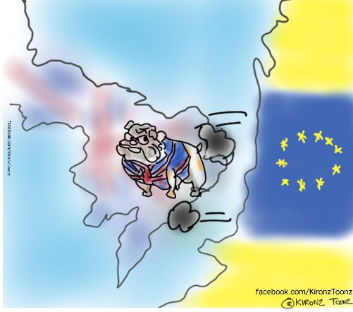Britain shown as a bulldog, a familiar image for Britain as stubborn with a stiff upper lip, glowering at Europe across the English Channel.