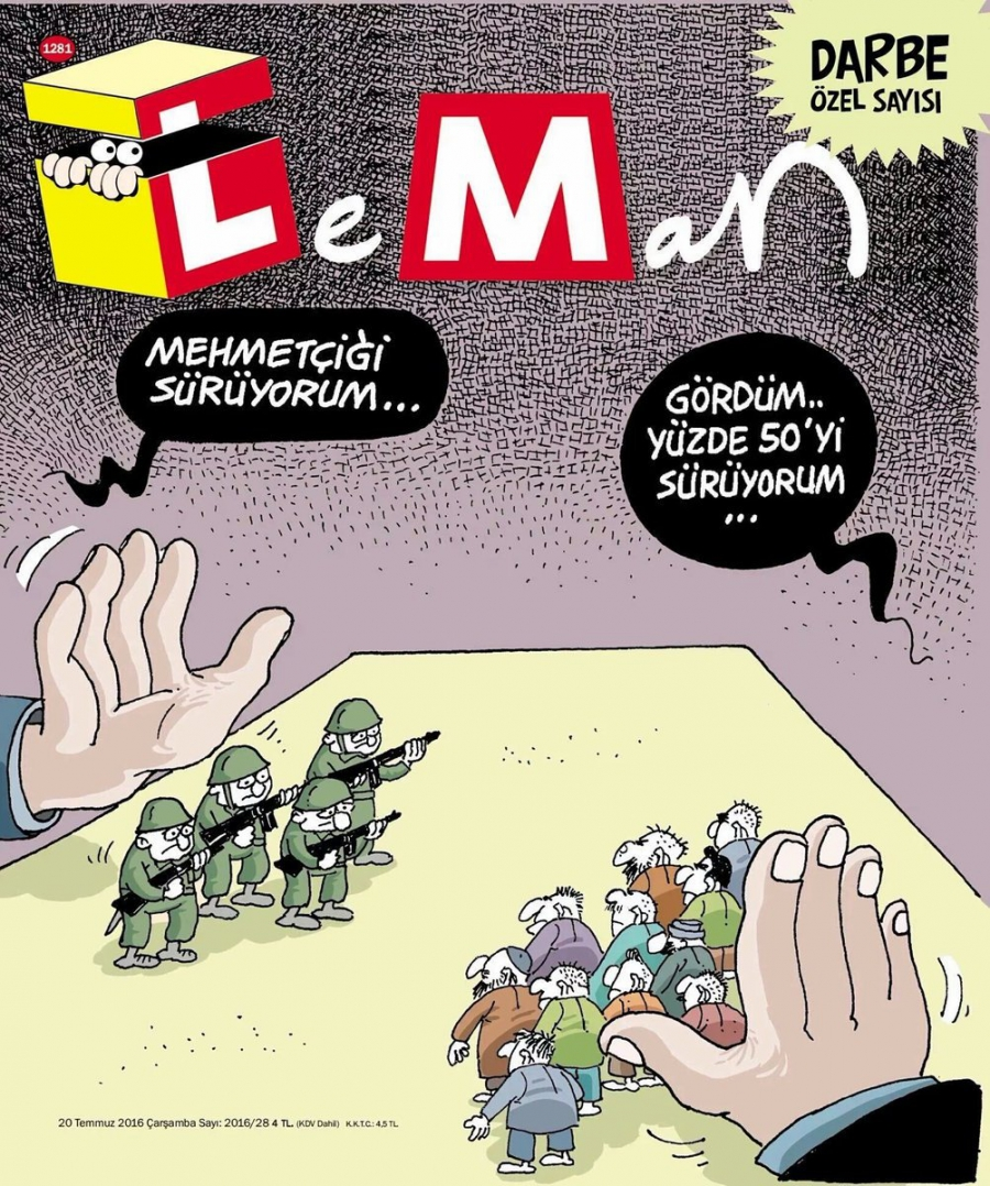 "The 'Special Coup Edition' cover of LeMan, a popular Turkish satirical magazine. It's a gambling metaphor. The left hand (coup plotters) says: ""I see you the soldiers."" The right hand (Erdogan) says ""I'll see you and raise you the 50 percent"", a reference"