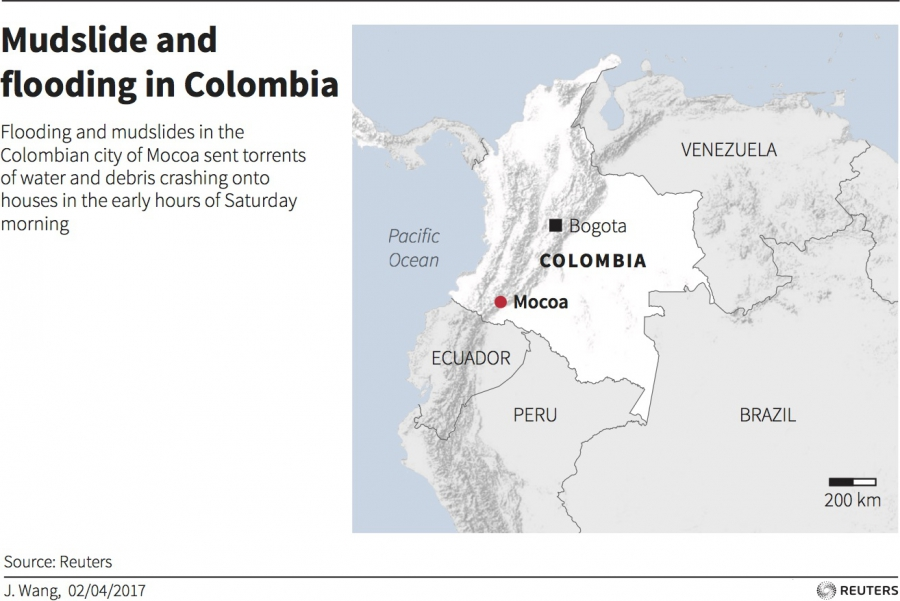 A map of the impact of overflowing rivers in Colombia.