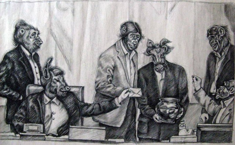Athena's cartoon depicting members of the Iranian parliament as animals voting on the prohibition of voluntary permanent contraception, or vasectomies.