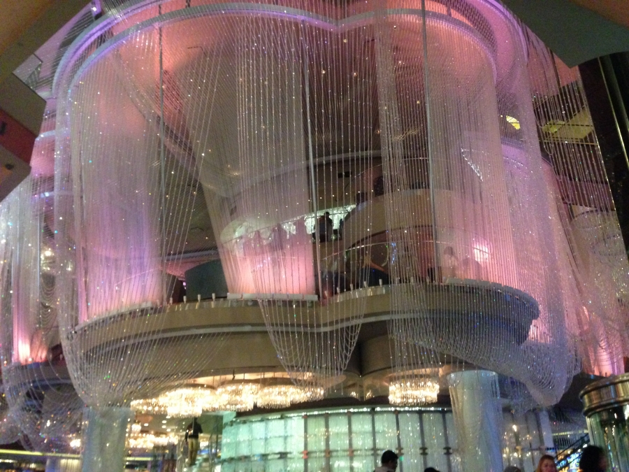 The three-story Chandelier Bar at The Cosmopolitan is the hot place to grab a drink in Las Vegas.