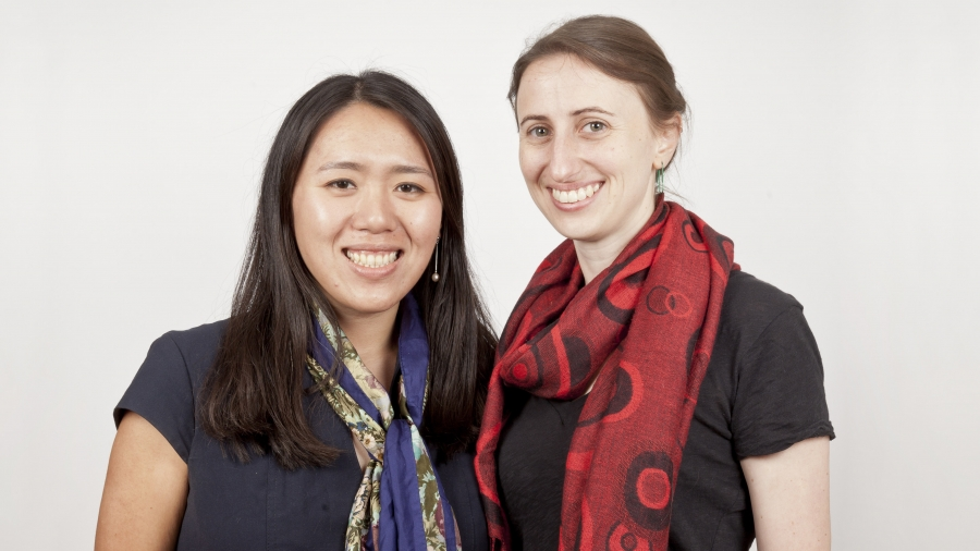 Diana Jue (l) and Amy Stenson (r), co-founders of Essmart. They sell solar lamps and other technologies to Mom and Pop stores in rural India.