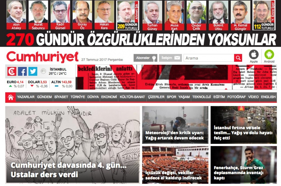 Each day since the arrests of its staffers began nine months ago, Cumhuriyet has featured the photos of all its detained journalists and executives and the number of days they've been held at the top of its front page.