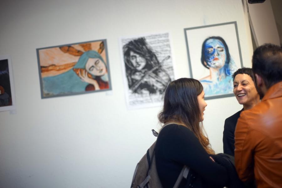 Parmis' art on display at Restart's exhibition in Vienna.