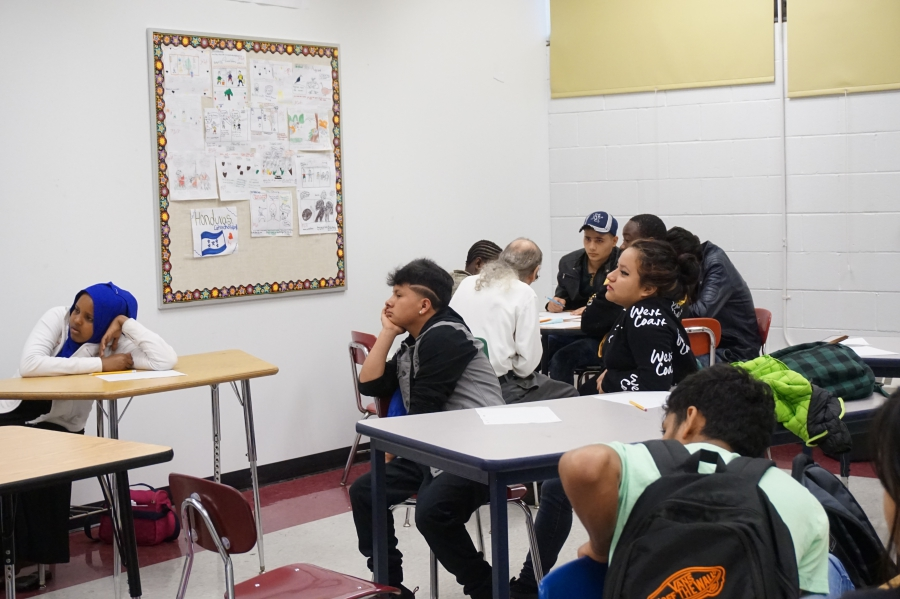 Bartolo in his English language class at his high school in Pittsburgh
