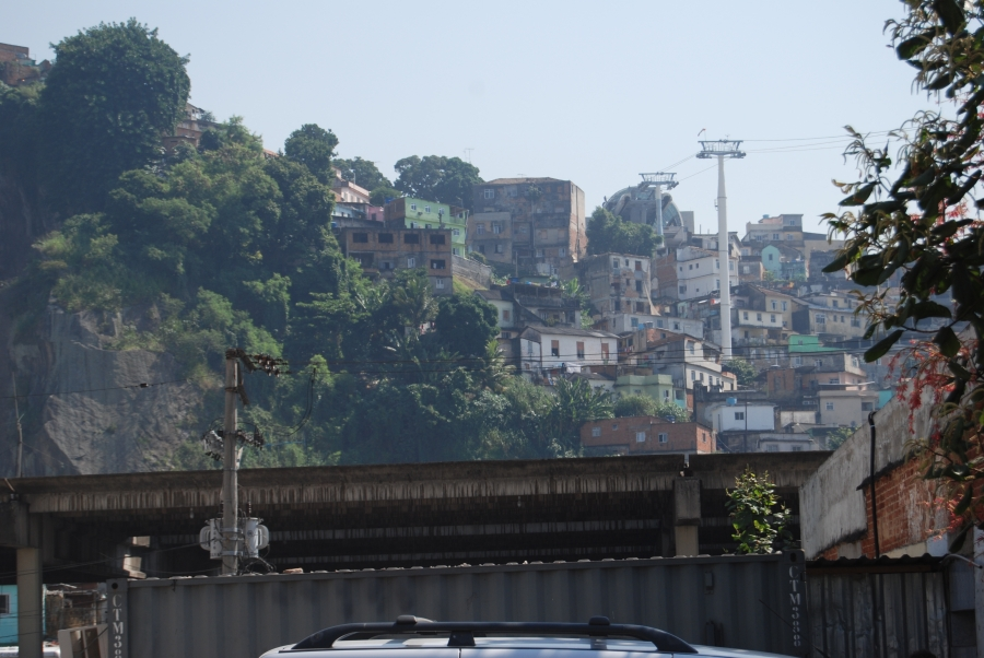 A view from below of one of Rio's famous and colorful favelas.