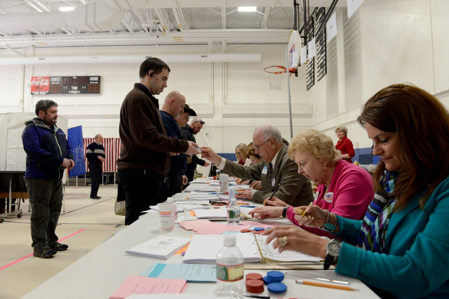 Voters line up in New Hampshire, February 9, 2016.
