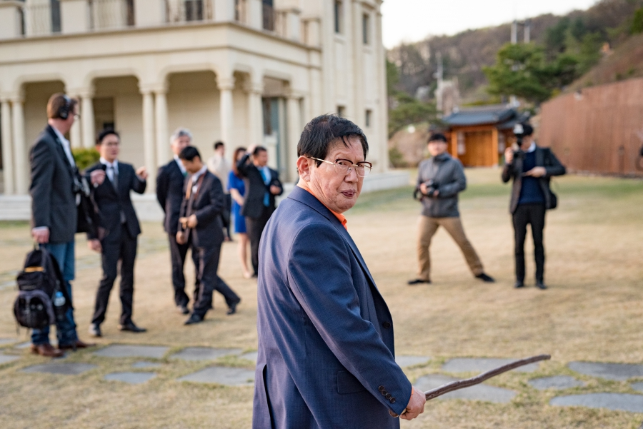 """Shinchonji founder, Lee Man-hee gives a personal tour of the grounds at his group's mansion, which his followers call """"the peace palace,"""" to The World's Matthew Bell. The location is in the hills outside of the South Korean capital, Seoul."""