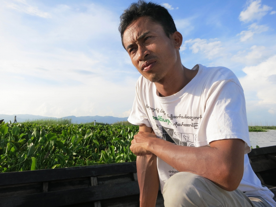 34-year-old activist Kyaw Soe works with local youth, farmers and others to address threats to Inle Lake's health.