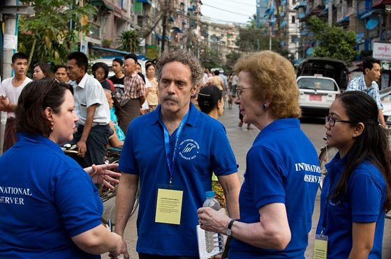 David Carroll, head of the Carter Center's Democracy Program, monitoring Myanmar elections